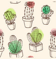 pattern with cactus in flowerpot vector image vector image