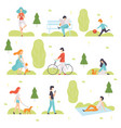 people walking doing sports relaxing in park vector image vector image