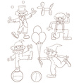 Plain sketches of the playful clowns vector image vector image