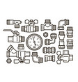 sanitary engineering plumbing set icons water vector image