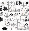seamless childish pattern with cute fairy cat vector image vector image