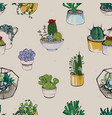 seamless with various hand drawn succulent vector image