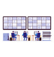 security room professionals monitoring in control vector image vector image