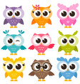 Set of colorful funny owls isolated on white