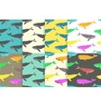Set of Seamless patterns with Whales vector image vector image