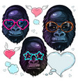 set portrait monkey gorilla in the fashion vector image vector image