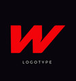 speed letter w red race monogram logo italic vector image