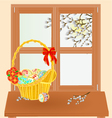 Spring window and pussy willow with Easter basket vector image