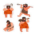 stone age and caveman hunting and making fire vector image vector image