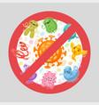 stop viruses cartoon sign vector image