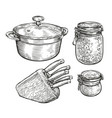 tableware sketch cooking food concept vintage vector image