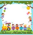 template with cartoon happy kids on train