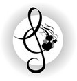 treble clef with notes design vector image vector image