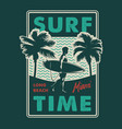 vintage surfing time colorful print vector image vector image
