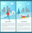 wintertime activities banner vector image vector image
