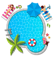 Young family relaxing at swimming pool for summer vector image vector image