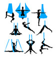 aero yoga silhouettes black and white icons vector image
