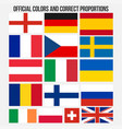 flags of countries with official colors and vector image