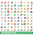 100 marker icons set isometric 3d style vector image vector image