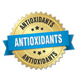 antioxidants 3d gold badge with blue ribbon vector image vector image