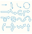 Arrows painted blue line vector image