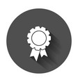 badge with ribbon icon in flat style with long vector image vector image