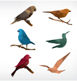 Birds icon set low-poly style vector image vector image
