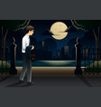 businessman coming home late from work vector image vector image