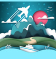 cartoon paper landscape mountain ship anchor vector image