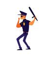 cartoon policeman in blue uniform blowing a vector image vector image