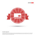 cassette icon - red ribbon banner vector image vector image