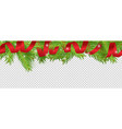 christmas banner red ribbon tree vector image