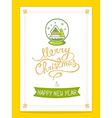 christmas card with green christmas snow vector image vector image