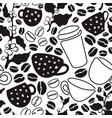 coffee seamless pattern drawn vector image