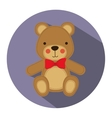 color silhouette with teddy bear in round frame vector image vector image