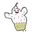 comic cartoon cupcake monster vector image vector image