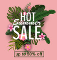 design of a banner with a logo of hot summer sale vector image