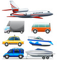 different transportations on white background vector image vector image