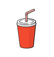 disposable paper cup with soda and straw vector image vector image