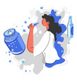 drinking soda water from cans bad nutrition vector image