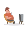Fat man sitting on the couch and watching TV vector image vector image