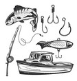 fishing elements badges logos labels posters vector image vector image