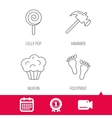 Footprint lolly pop and muffin icons vector image vector image