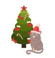greeting card cartoon cat santa s hat sitting tree vector image