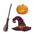 hand drawn halloween symbols - pumpking lantern vector image vector image