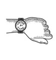 hand with wristwatch coffee time sketch engraving vector image