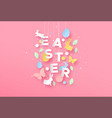 happy easter card paper craft spring decoration vector image vector image
