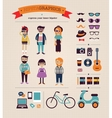 Hipster info graphic concept background with icons vector image vector image