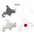 Hokkaido blank outline map set vector image vector image