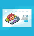 isometric city concept banner vector image vector image